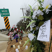 A memorial has been constructed at Mudd Creek in East Tupelo for Jimmy Fair floowing his death.