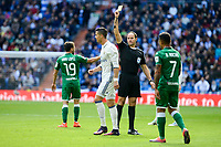 Referee shows yellow carpet to Real Madrid's player Cristiano Ronaldo during a match of La Liga at Santiago Bernabeu Stadium in Madrid. November 06, Spain. 2016. (ALTERPHOTOS/BorjaB.Hojas)