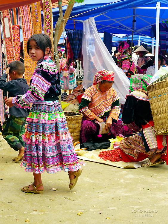 Girl at market at Northern Vietnam