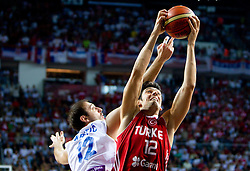 Nenad Krstic of Serbia vs Kerem Gonlum of Turkey during the second semifinal basketball match between National teams of Serbia and Turkey at 2010 FIBA World Championships on September 11, 2010 at the Sinan Erdem Dome in Istanbul, Turkey. Turkey defeated Serbia 83 - 82 and qualified to finals.  (Photo By Vid Ponikvar / Sportida.com)