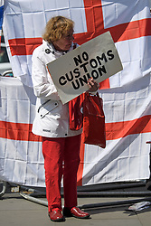 "© Licensed to London News Pictures. 15/05/2019. London, UK. A Brexit supporter holding a sign reading ""NO CUSTOMS UNION"" is seen stood in front of the Flag of St George in Westminster, London. Government has announced that MPs will get another chance to vote on Theresa May's Brexit Bill in early June, after EU parliament elections. Photo credit: Ben Cawthra/LNP"