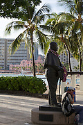 "Waikiki Beach. The historic Royal Hawaiian Hotel is also known as the ""Pink Lady""."