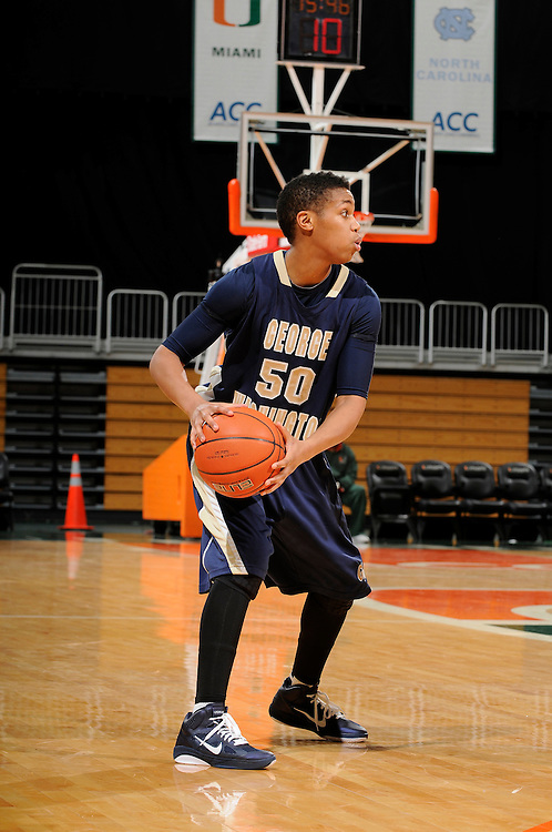 December 28, 2010: Kye Allums of the George Washington Colonials in action during the NCAA basketball game between GWU and the Miami Hurricanes. The 'Canes defeated the Colonials 83-62.