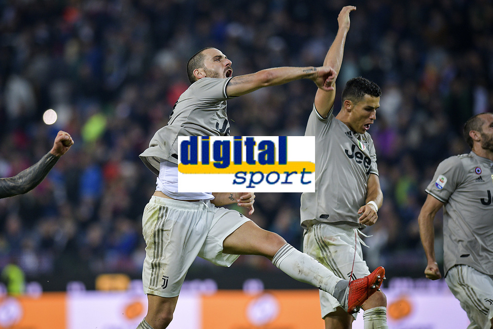 esultanza Leonardo Bonucci, Cristiano Ronaldo celebration <br /> Udine 06-10-2018 Stadio Friuli Football Calcio Serie A 2018/2019 Udinese - Juventus<br /> Foto Federico Tardito / OnePlusNine / Insidefoto