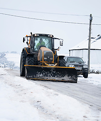 © Licensed to London News Pictures Ltd.. 01/02/2019. Bodmin Moor, UK. A tractor used to help free stranded motorists on the A30 on Bodmin Moor last night by heavy snowfall. Most motorists were put the up on camp beds in the nearby Jamaica Inn. Photo credit: Mark Hemsworth/LNP