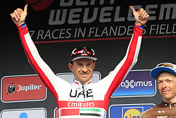 Alexander Kristoff (NOR) UAE Team Emirates wins the 2019 Gent-Wevelgem in Flanders Fields running 252km from Deinze to Wevelgem, Belgium. 31st March 2019.<br /> Picture: Eoin Clarke | Cyclefile<br /> <br /> All photos usage must carry mandatory copyright credit (© Cyclefile | Eoin Clarke)