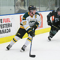 5th year forward Cody Fowlie (27) of the Regina Cougars in action during the Men's Hockey Shine On Game on December 2 at Co-operators arena. Credit: Arthur Ward/Arthur Images