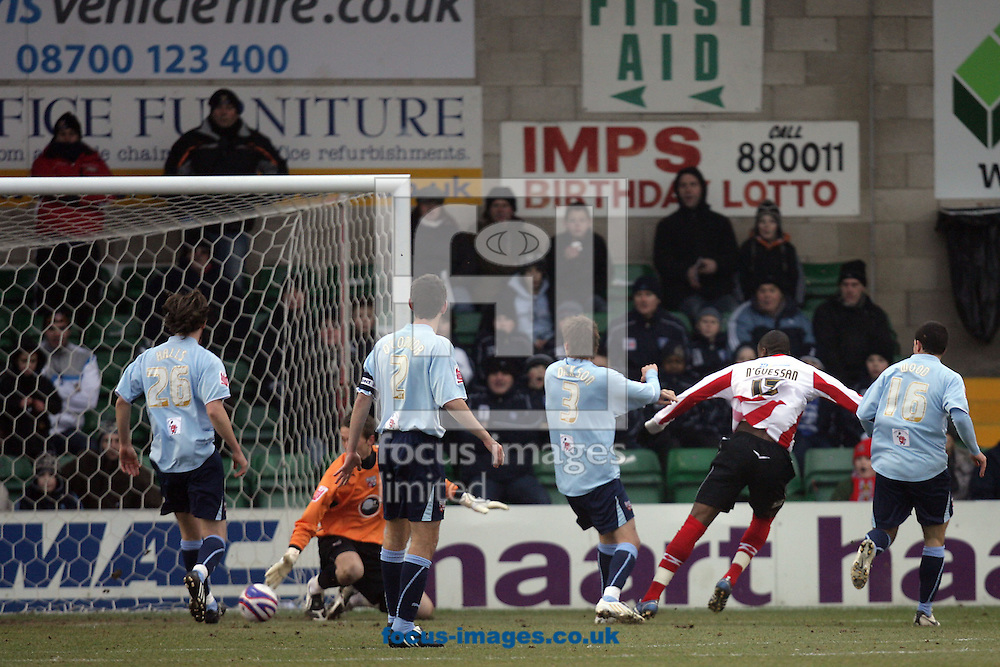 Lincoln - Saturday, January 10th, 2009: Lincoln City's Dany N'Guessan scores his side's first goal during the League Two match at Sincil Bank, Lincoln. (Pic by Mark Chapman/Focus Images)
