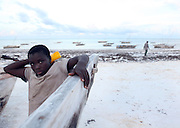 A boy is photographed on the beach in Matwemwe, Zanzibar.