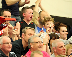 A young Bristol Flyers fan shouts on his team - Photo mandatory by-line: Robbie Stephenson/JMP - Mobile: 07966 386802 - 18/04/2015 - SPORT - Basketball - Bristol - SGS Wise Campus - Bristol Flyers v Leeds Force - British Basketball League