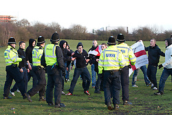 © under license to London News Pictures. 11/12/2010. Continuing their protests in towns and cities across the UK, the English Defence League protest against militant Islam in Peterborough. Police try to contain EDL supporters
