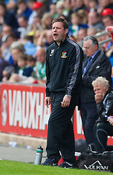 WREXHAM, WALES - Saturday, May 3, 2014: Aberystwyth Town's manager Ian Hughes during the Welsh Cup Final against The New Saints at the Racecourse Ground. (Pic by David Rawcliffe/Propaganda)