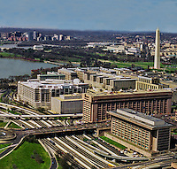 Aerial  Washington DC Monuments and Museums looking towards Virginia