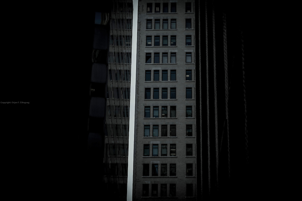 Narrow streets. The 61 Broadway building seen from Exchange Place.
