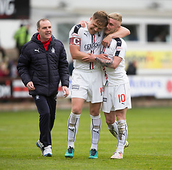 Falkirk's Peter Grant and Falkirk's Craig Sibbald at the end. Dunfermline 1 v 2 Falkirk, Scottish Championship game played 22/4/2017 at Dunfermline's home ground, East End Park.