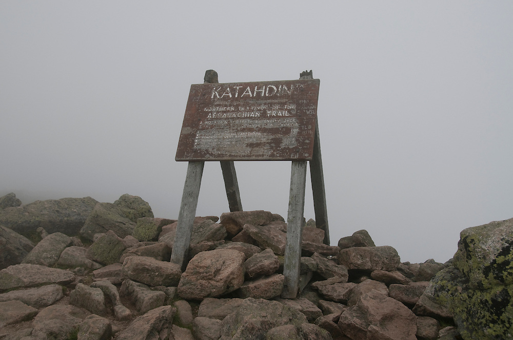 End of the Appalachian trail at Mount Katahdin's Peak in Baxter State Park, Maine