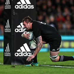 Liam Squire scores during the Bledisloe Cup and Rugby Championship rugby match between the New Zealand All Blacks and Australia Wallabies at Eden Park in Auckland, New Zealand on Saturday, 25 August 2018. Photo: Simon Watts / lintottphoto.co.nz