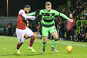 Forest Green Rovers Nathan McGinley(19) on the ball during the EFL Trophy group stage match between Forest Green Rovers and U21 Arsenal at the New Lawn, Forest Green, United Kingdom on 7 November 2018.
