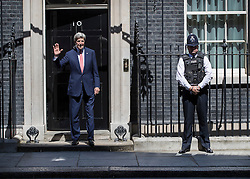 © Licensed to London News Pictures. 19/07/2016. London, UK.  US Secretary of State John Kerry visits Downing Street to meet with new Prime Minister Theresa May. Photo credit: Peter Macdiarmid/LNP