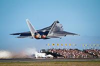 USAF F-22 Raptor takes off under full burner at Avalon. Crowd is suitably impressed :-)