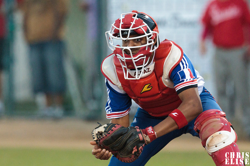 21 August 2010: Andy Paz of Team France is seen ready for a tag at home plate during Russia 13-1 win in 7 innings over France, at the 2010 European Championship, under 21, in Brno, Czech Republic.