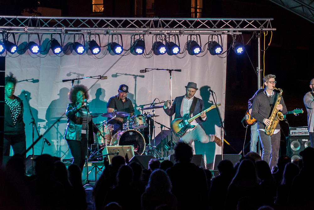 Nightly live music at Harbor Fest in downtown Marquette, Michigan.