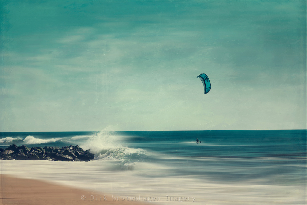 Kite surfer on the Atlantic - texturized abstract photograph