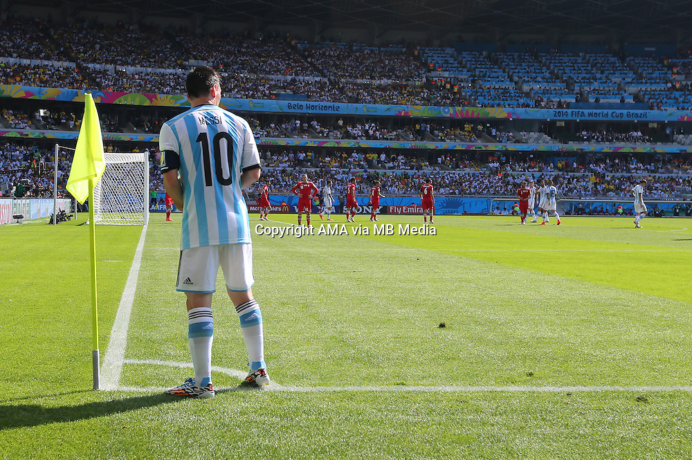 Lionel Messi of Argentina takes a corner kick
