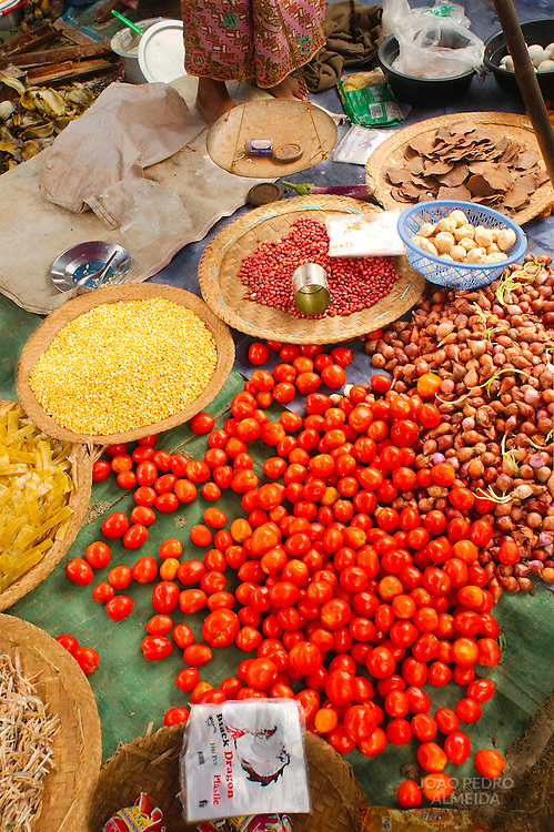 Produce on a stand of a Burmese rural day market
