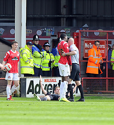 Walsall's Michael Ngoo pushes Bristol City's Scott Wagstaff to the flopr but is only given a yellow card  - Photo mandatory by-line: Joe Meredith/JMP - Mobile: 07966 386802 12/04/2014 - SPORT - FOOTBALL - Walsall - Banks' Stadium - Walsall v Bristol City - Sky Bet League One