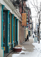 Snowy storefronts and Shadeau Bread in Over the Rhine