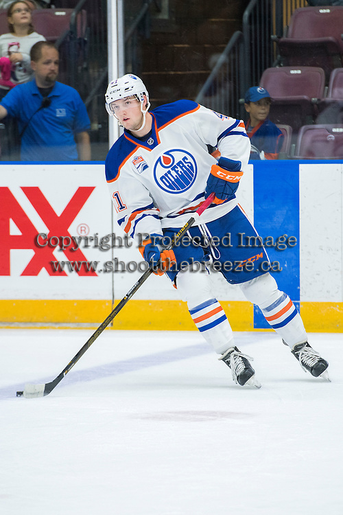PENTICTON, CANADA - SEPTEMBER 17: Tomas Soustal #41 of Edmonton Oilers skates with the puck against the Calgary Flames on September 17, 2016 at the South Okanagan Event Centre in Penticton, British Columbia, Canada.  (Photo by Marissa Baecker/Shoot the Breeze)  *** Local Caption *** Tomas Soustal;