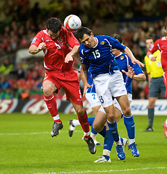 CARDIFF, WALES - Friday, September 5, 2008: Wales' Craig Morgan and Azerbaijan's Nodar Mamedov during the opening 2010 FIFA World Cup South Africa Qualifying Group 4 match at the Millennium Stadium. (Photo by David Rawcliffe/Propaganda)