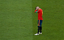MOSCOW, RUSSIA - Sunday, July 1, 2018: Adios... Spain's Sergio Ramos looks dejected after losing 4-3 on penalties during the FIFA World Cup Russia 2018 Round of 16 match between Spain and Russia at the Luzhniki Stadium. (Pic by David Rawcliffe/Propaganda)