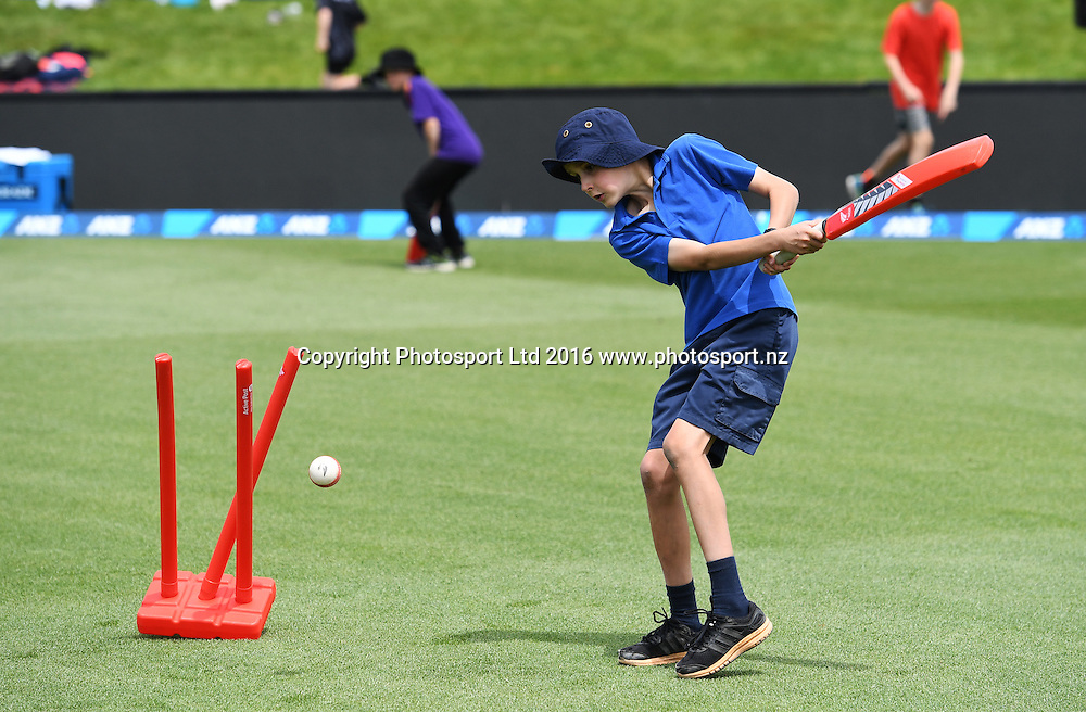 Kids play cricket at the lunch break on the out field. New Zealand Black Caps v Pakistan. Day 2, 1st test match. Friday 18 November 2016. Hagley Oval, Christchurch, New Zealand. © Copyright photo: Andrew Cornaga / www.photosport.nz