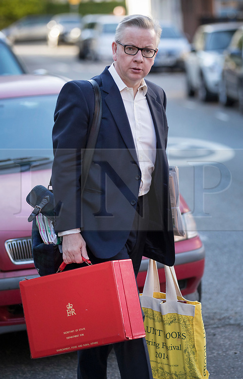 "© Licensed to London News Pictures. 14/05/2018. London, UK. Environment Secretary Michael Gove leaves home. Mr Gove has stated that there were ""significant question marks"" about the proposals for a customs partnership after Brexit.  Photo credit: Peter Macdiarmid/LNP"