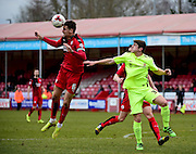 Crawley Town Defender Sonny Bradley (6) clears his lines during the Sky Bet League 2 match between Crawley Town and Hartlepool United at the Checkatrade.com Stadium, Crawley, England on 19 March 2016. Photo by Jon Bromley.