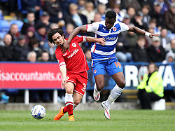 Cardiff City's Fabio is fouled by Reading's Hope Akpan - Photo mandatory by-line: Robbie Stephenson/JMP - Mobile: 07966 386802 - 04/04/2015 - SPORT - Football - Reading - Madejski Stadium - Reading v Cardiff City - Sky Bet Championship