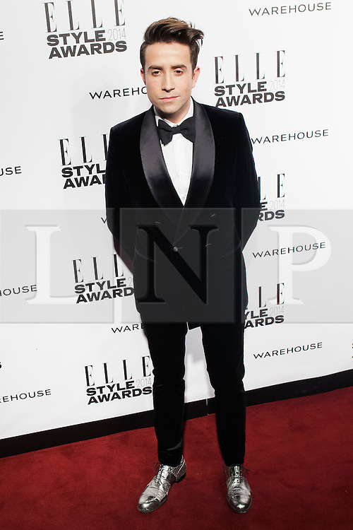 © Licensed to London News Pictures. 18/02/2014. London, UK. Nick Grimshaw arrives on the red carpet for the Elle Style Awards on the Embankment in central London. Photo credit : Andrea Baldo/LNP