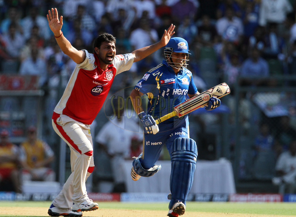 Kings XI Punjab player Praveen Kumar appeals unsuccessfully during match 28 of the Indian Premier League ( IPL) 2012  between The Mumbai Indians and the Kings X1 Punjab held at the Wankhede Stadium in Mumbai on the 22nd April 2012..Photo by: Vipin Pawar/IPL/SPORTZPICS