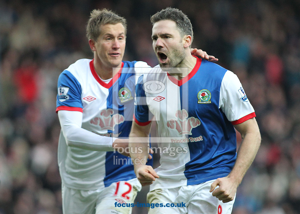 Picture by MIchael Sedgwick/Focus Images Ltd. 07900 363072.14/01/12.David Dunn of Blackburn celebrates scoring the second goal against Fulham with Morten Gamst Pedersen during the Barclays Premier League match at the Ewood Park stadium, Blackburn, Lancashire.