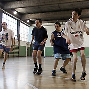Mini soccer Biella team during a training match, before participating in XXVIII Special Olympics Italian Games for mentally disabled people.<br /> 06/2012, Biella, Italy