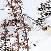 Sasha Dingle skis the backcountry off of Jackson Hole Mountain Resort in Teton Village, Wyoming.