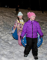 Laconia Parks and Rec sledding party under the lights  January 28, 2011.
