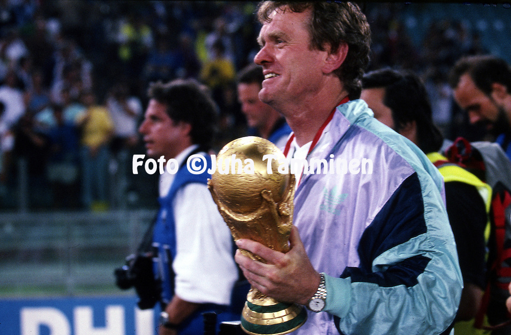 FIFA World Cup - Italia 1990<br /> Stadio Olimpico, Rome, Italy.<br /> Final Argentina v West Germany.<br /> German goalkeepers coach and 1974 World Cup winner Josef &quot;Sepp&quot; Maier with the trophy.