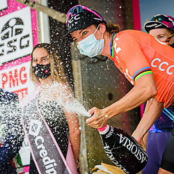 VOS Marianne ( NED ) - CCC - Liv ( CCC ) - NED - Winner - First Place – Stage Classement - Award Ceremony – Medal Ceremony – Podium - Querformat - quer - horizontal - Landscape - Event/Veranstaltung: Giro Rosa Iccrea - 6. Stage - Category/Kategorie: Cycling - Road Cycling - Cycling Tour - Elite Women - Location/Ort: Europe – Italy - Start: Torre del Greco - Finish: Nola - Discipline: Cycling - Road Cycling - Cycling Tour - Road Race ( RR ) - Distance: 97,5 km - Date/Datum: 16.09.2020 – Wednesday - Photographer: © Arne Mill - frontalvision.com