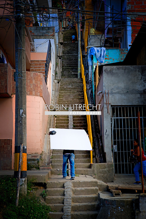 MEDELLIN COLOMBIA 2-8-2016 - The neighbourhood barrio escobar in medellin , the world famous druglord Pablo escobar gave 500 houses to the poor people in medellin  25 years ago , he died in 1993 and is still loved in the Pablo Escobar neighbourhood COPYRIGHT ROBIN UTRECHT<br /> MEDELLIN COLOMBIA 2016/02/08 - De wijk barrio Escobar in Medellin, de wereldberoemde drugsbaron Pablo Escobar gaf 500 woningen aan de arme mensen in Medellin 25 jaar geleden, hij stierf in 1993 en is nog steeds geliefd in de Pablo Escobar buurt COPYRIGHT ROBIN UTRECHT