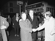 Image of Fianna Fáil leader Charles Haughey touring West Cork during his 1982 election campaign...04/02/1982.02/04/82.4th February 1982..Things are in hand:..Charles Haughey meeting and greeting as darkness takes control.