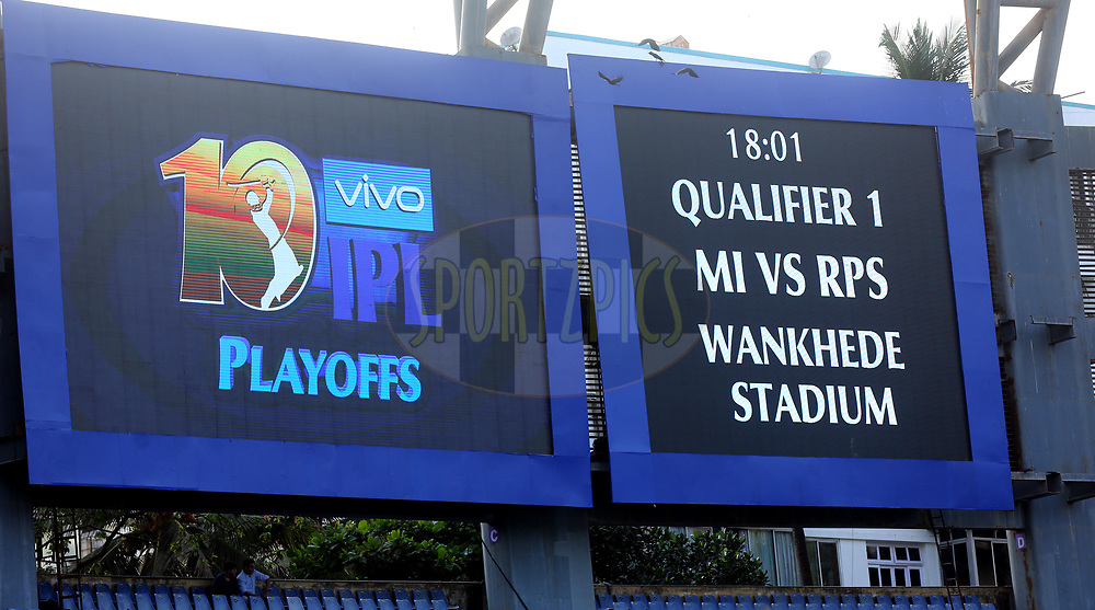 Giant screen during The Qualifier 1 match (match 57) of the Vivo 2017 Indian Premier League between the Mumbai Indians and the Rising Pune Supergiant held at the Wankhede Stadium in Mumbai, India on the 16th May 2017<br /> <br /> Photo by Sandeep Shetty - Sportzpics - IPL