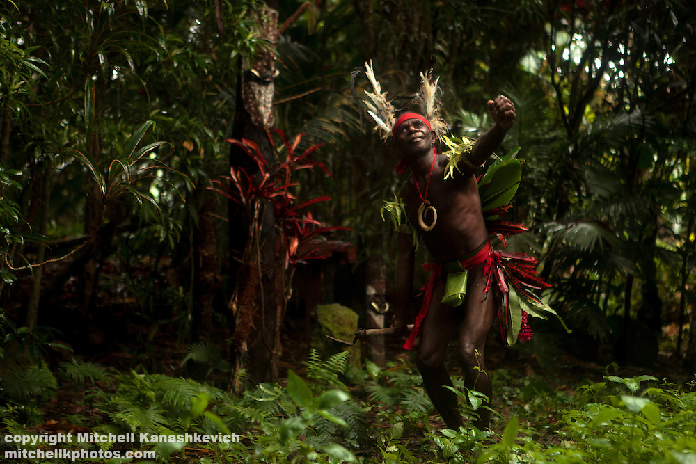 Chief Ayar performing a kastom dance of his ancestors, Near the village of Wintua, South West Bay, Malekula, Vanuatu